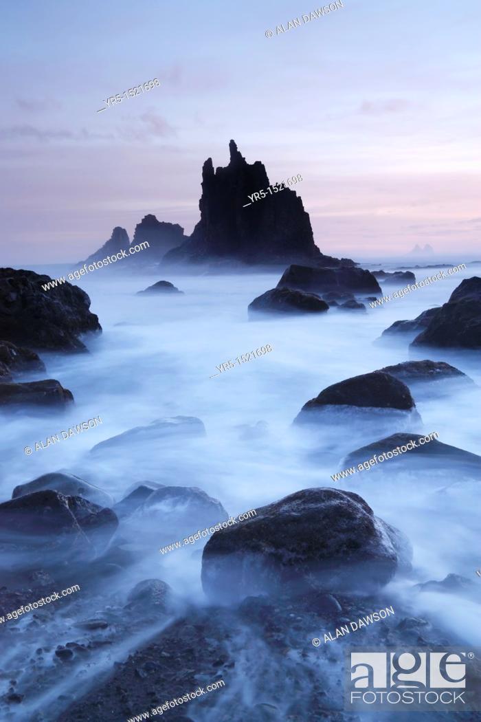Stock Photo: Roques de Benijo at sunrise from Benijo near Taganana in the Anaga region of Tenerife Canary Islands, Spain.