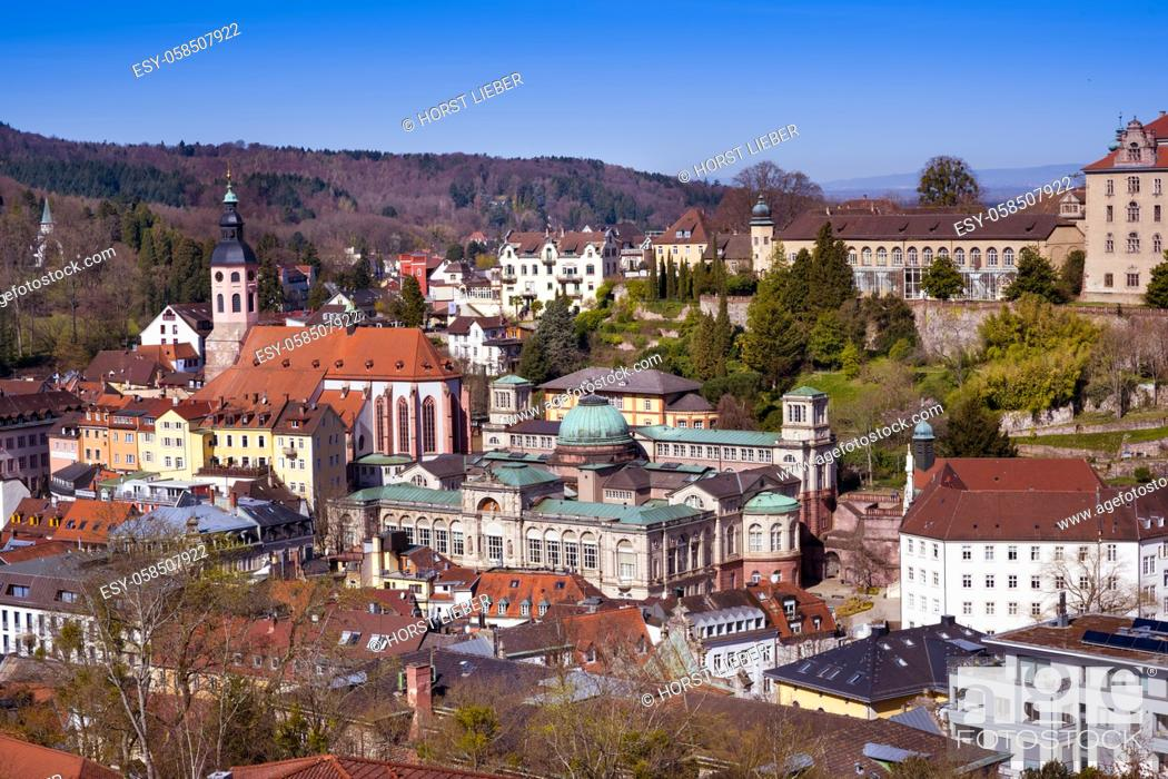 Stock Photo: The Bathing district in Baden Baden with the New Castle and famous Friedrichsbad and the collegiate church. Seen from Anna mountain.