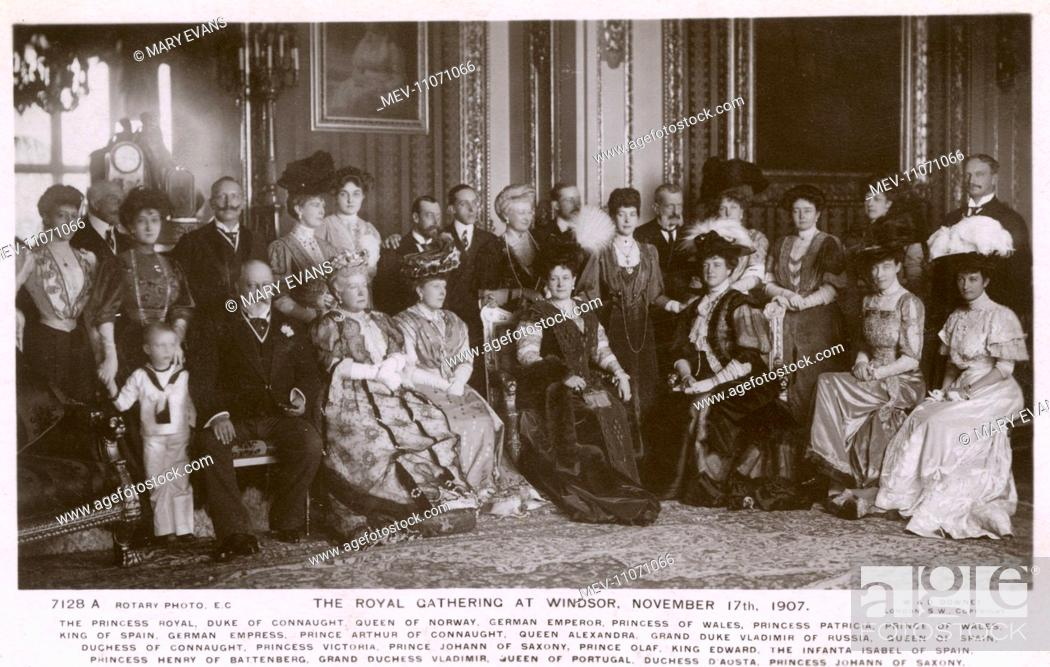 Stock Photo: Royal Gathering at Windsor - European Royalty - November 17th 1907. This card features the following: The Princess Royal, Duke of Connaught, The Queen of Norway.
