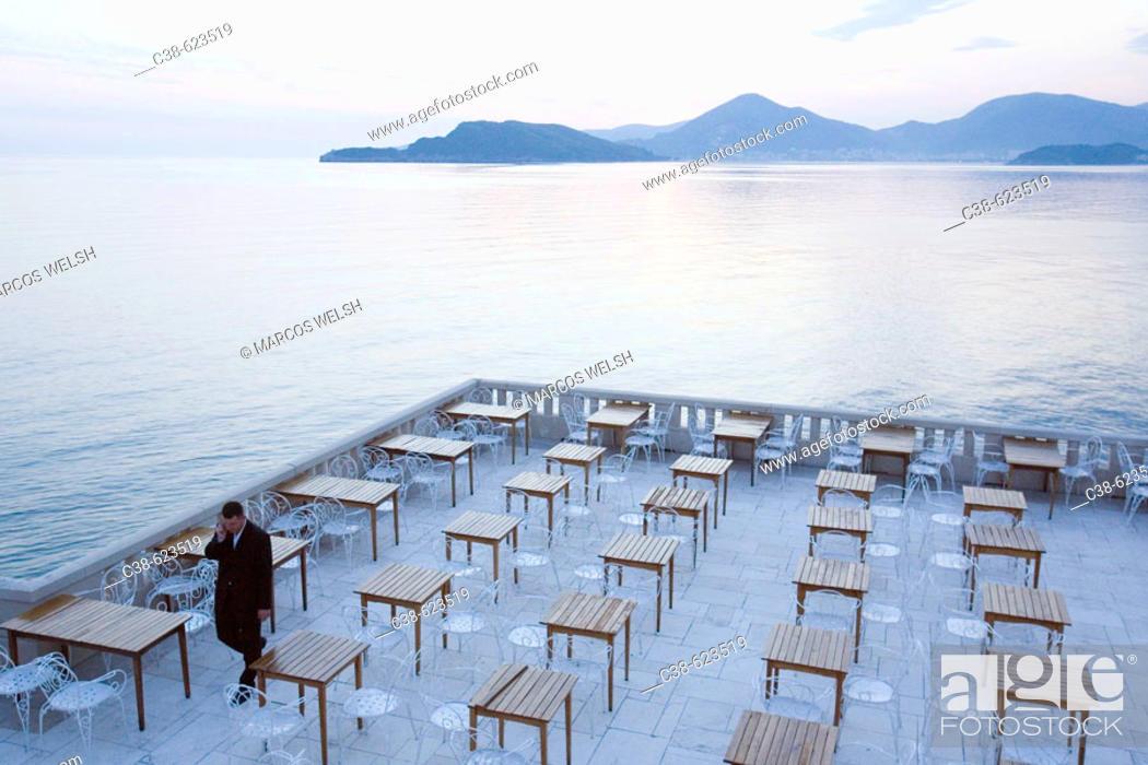 Stock Photo: The Terrace of Sveti Stefan Hotel in Montenegro.