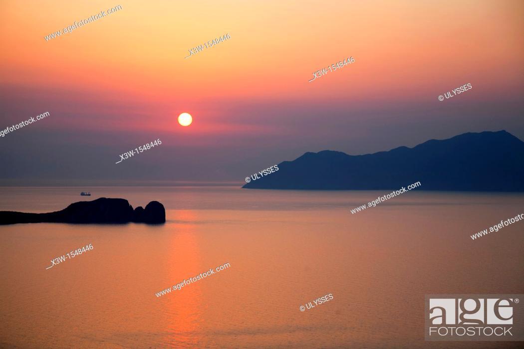 Stock Photo: view from plaka village, milos island, cyclades islands, greece, europe.