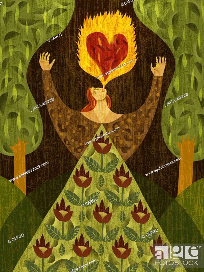 Stock Photo: A woman in a forest, breathing fire with heart-shape in it.