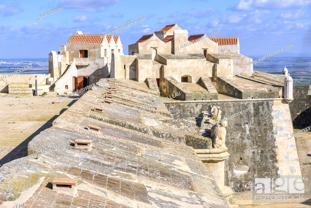 Stock Photo: Bulwarks and living quarters, Fort of Graca, Garrison Border Town of Elvas and its Fortifications, Portalegre District, Alentejo Region, Portugal, Europe.