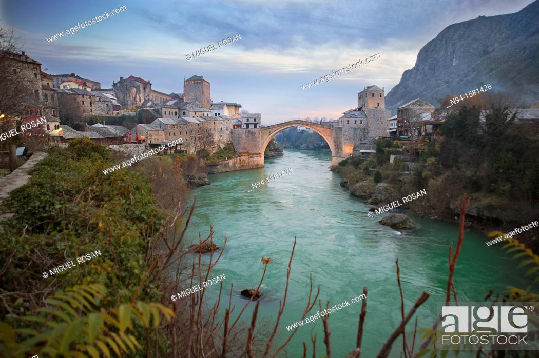 Stock Photo: Bridge Stari Most or ????? ???? joining the two halves of the city of Mostar in Bosnia-Herzegovina.