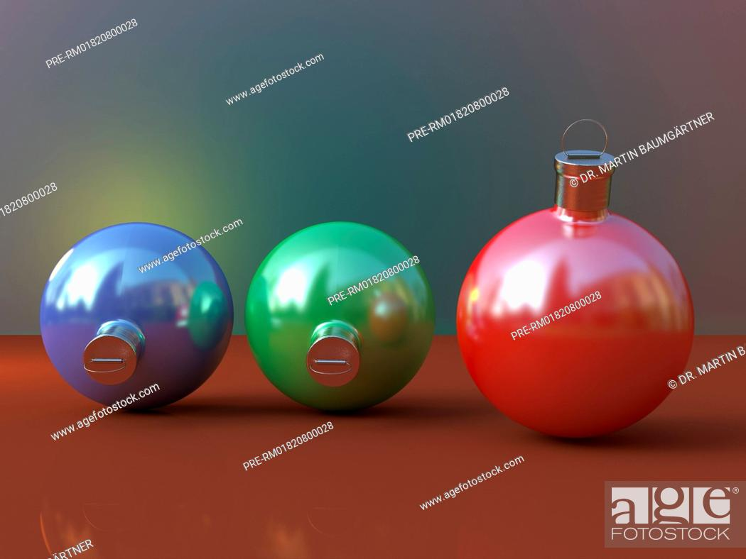Material Christbaumkugeln.Three Christmas Baubles Photo Realistic Computer Graphic