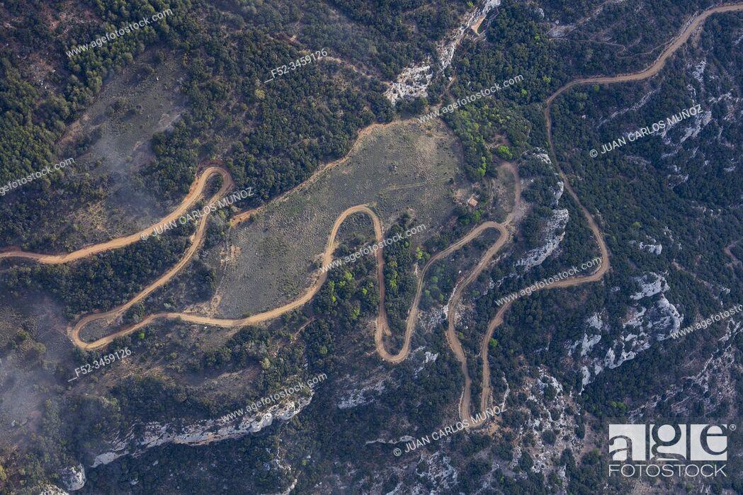 Stock Photo: Mountain track, Montsec Range, The Pre-Pyrenees, Lleida, Catalonia, Spain, Europe.