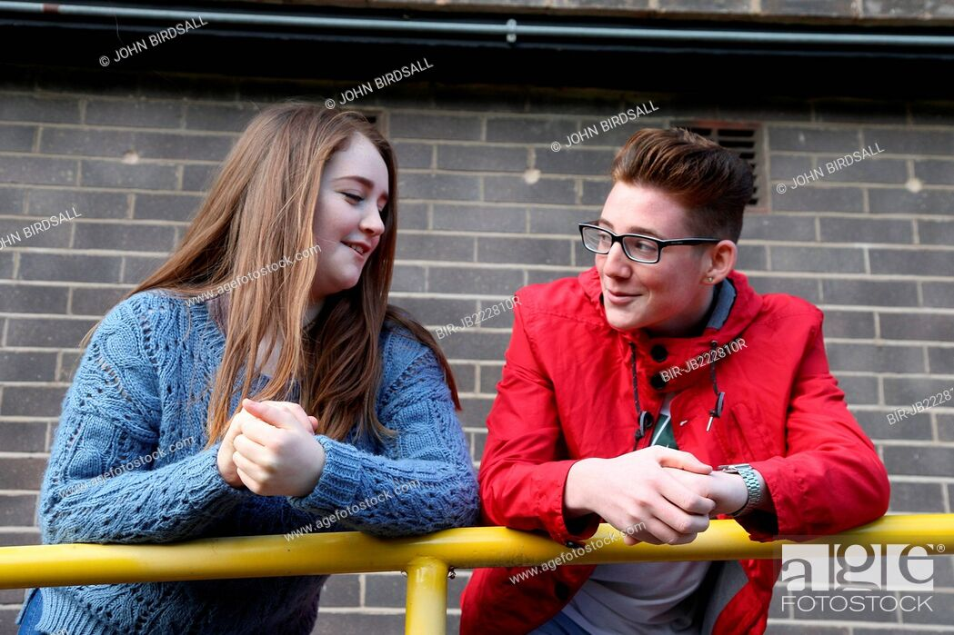 Stock Photo: Teenagers chatting.