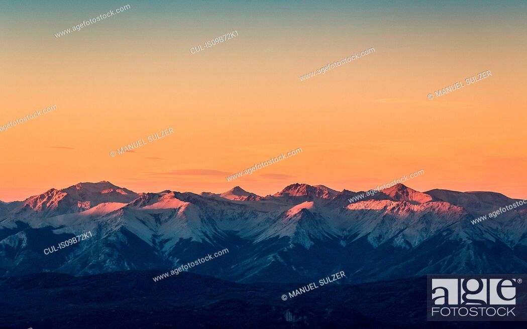 Stock Photo: Sunset view of Andes mountain range, Nahuel Huapi National Park, Rio Negro, Argentina.