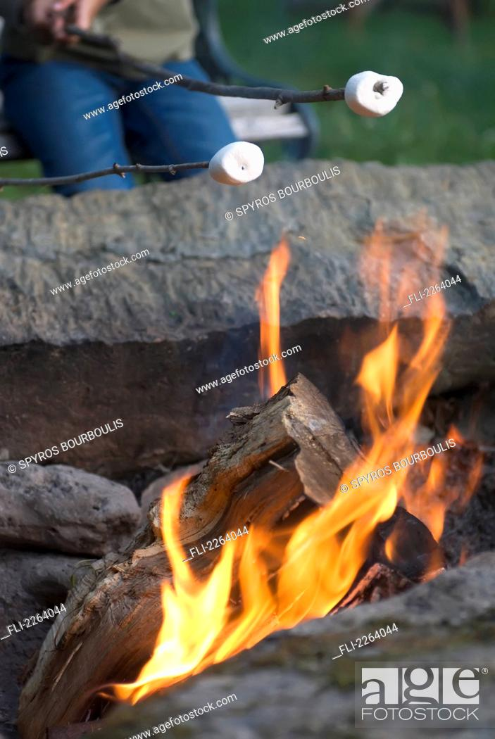 Roasting Marshmallows Over A Campfire Vermont Usa Stock Photo