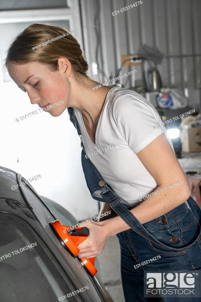 Stock Photo: Service Station. Car tuning. Small family business concept.