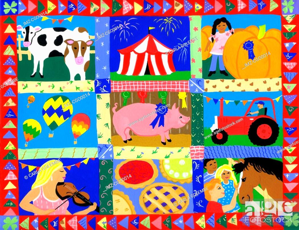 Stock Photo: A montage of county fair events and animals.