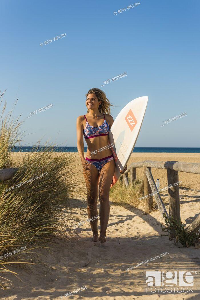 Stock Photo: Woman in bikini. Tarifa, Cadiz, Costa de la Luz, Andalusia, Southern Spain.