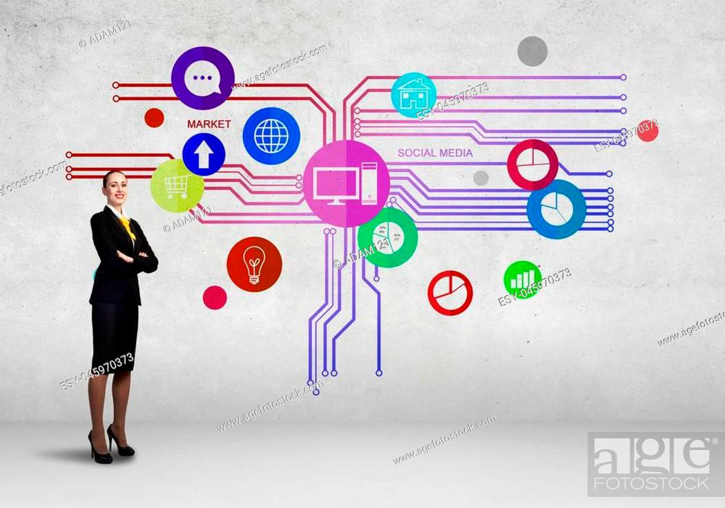 Photo de stock: Businesswoman and color application icons at background.