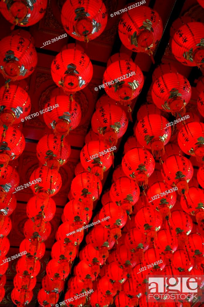Stock Photo: Houtong, Taiwan: red lanterns in a temple.