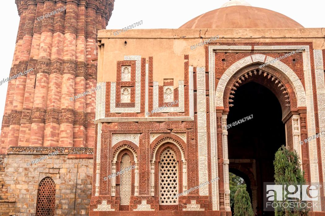Stock Photo: alai darwaza a southern gateway of the quwwat ul islam mosque in qutb complex in new delhi, india.