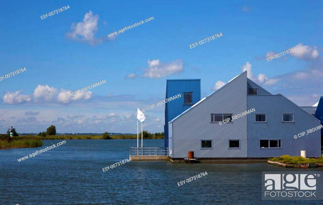 Stock Photo: new dutch houses on the water.