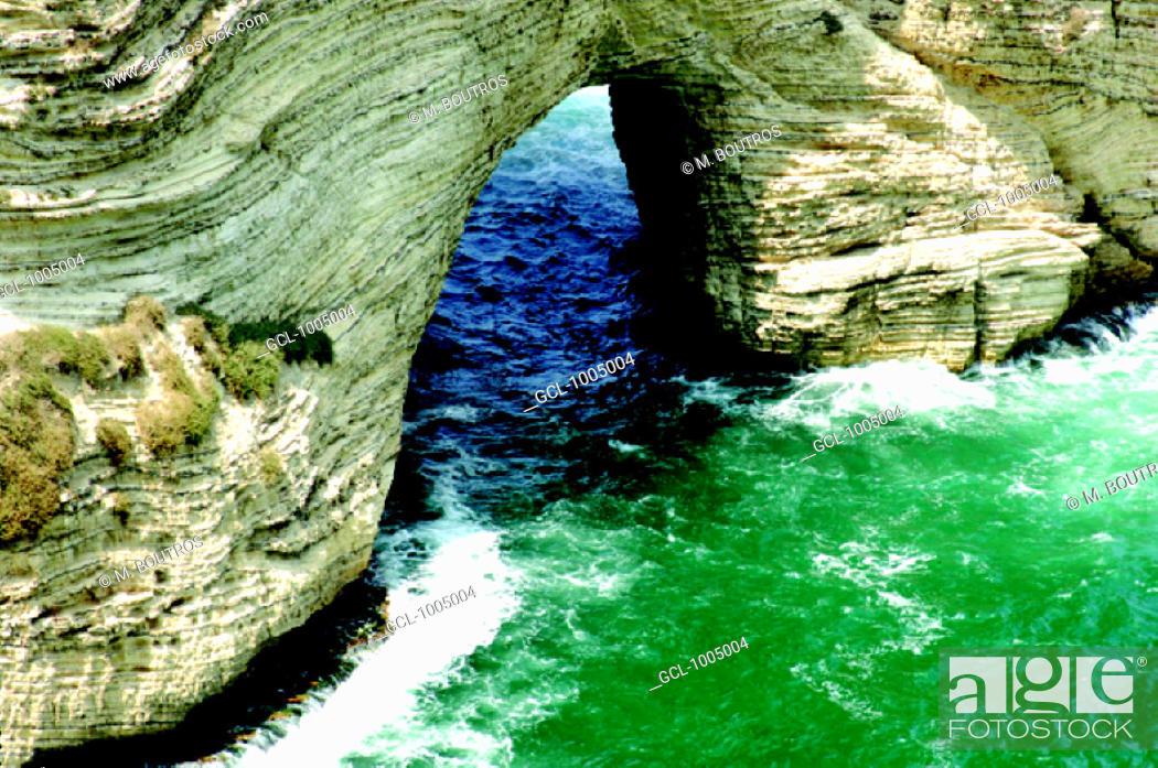 Stock Photo: Al Rawcheh Rock near Beirut, Lebanon.