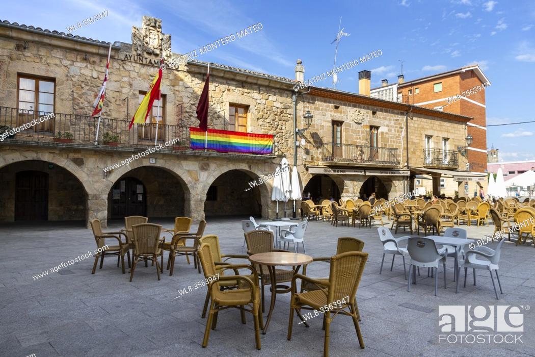 Stock Photo: LGBT pride flag in the town hall of Salas de los Infantes in Burgos, Spain.
