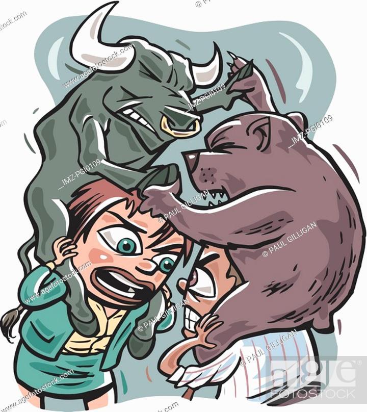 Stock Photo: bull vs  bear.