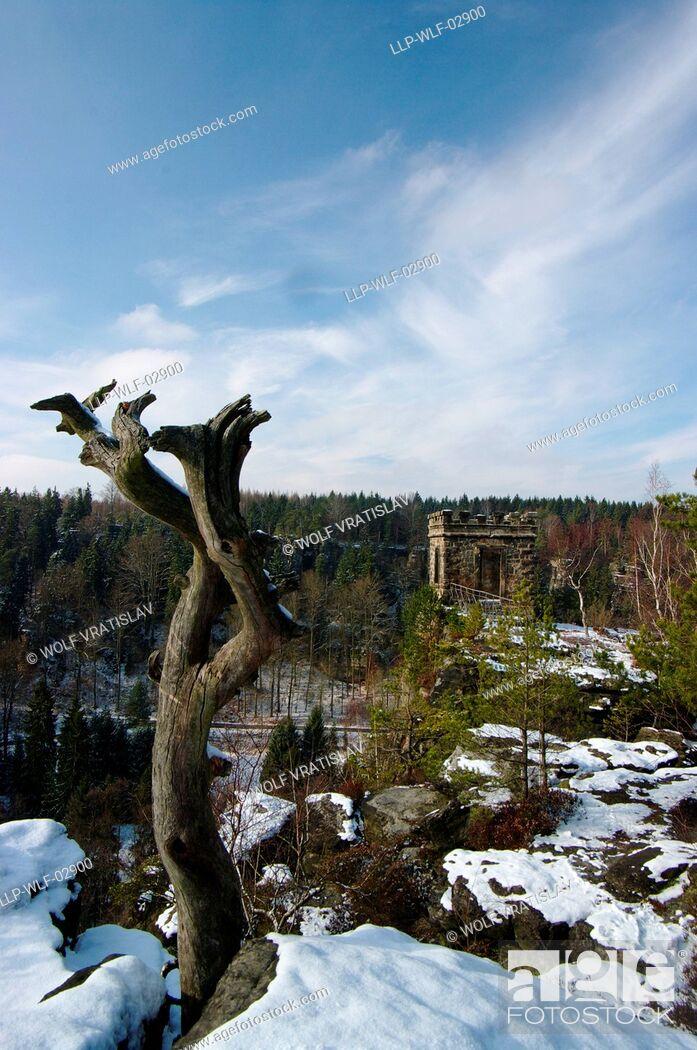 Stock Photo: Bielablick Lookout, Saxon Switzerland, Saxony, Germany.