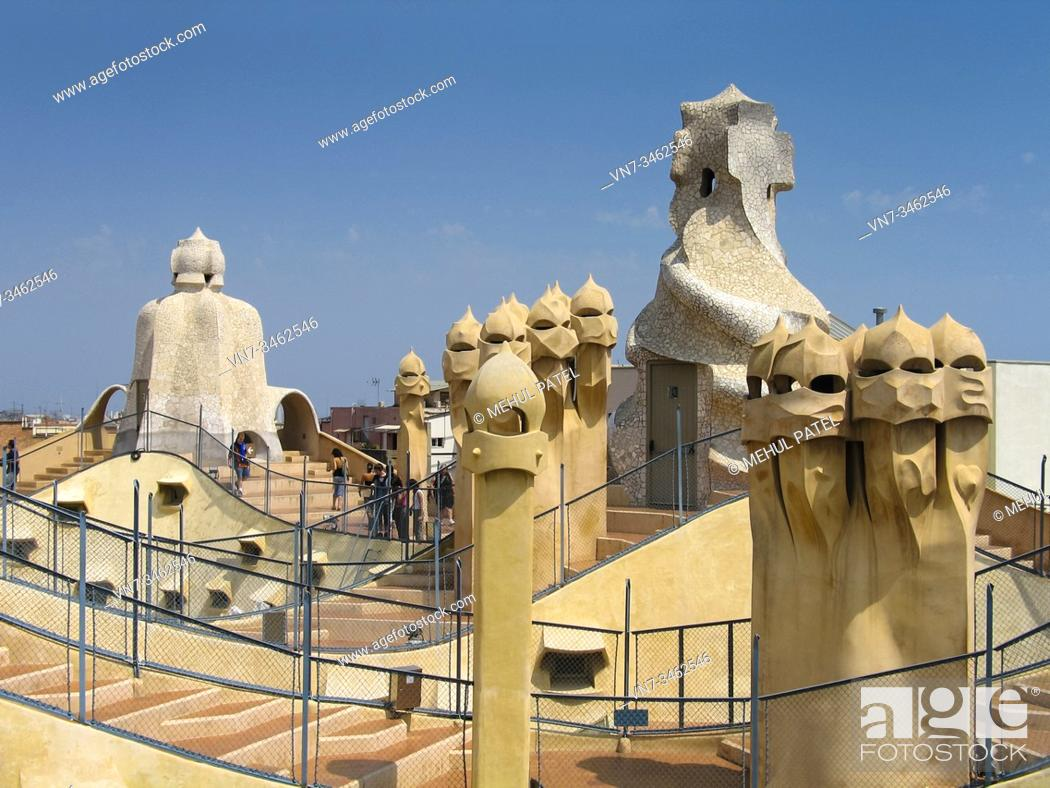 Stock Photo: Rooftop terrace on Antoni Guadi's 'La Pedrera' building in Barcelona, Spain. The architect, Gaudi, constructed this rooftop masterpiece on top 'La Pedrera' or.