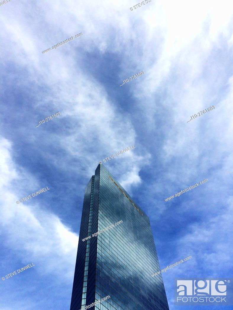Stock Photo: Electric clouds around the Hancock Tower, Boston, Massachusetts, USA.