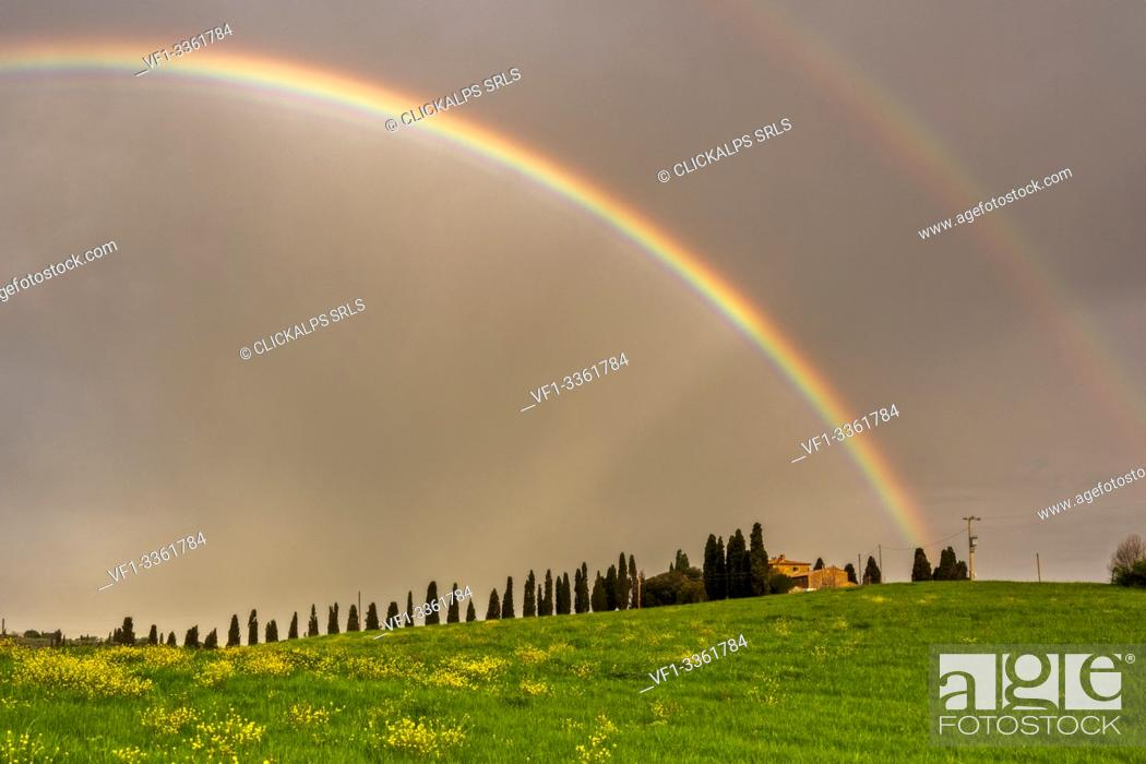 Imagen: Rainbow over cypresses in Orcia valley, San Quirico d'Orcia in Siena province, Italy, Tuscany.