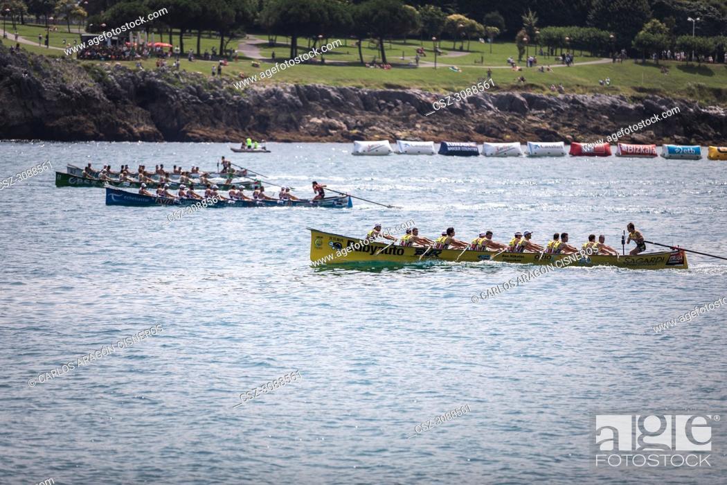Stock Photo: CASTRO URDIALES, SPAIN - JULY 15, 2018: Competition of boats, regata of trainera, Orio Babyauto, Urdaibai Avia, Go Fit Hondarribia and Zierbena Bahias Bizkaia.