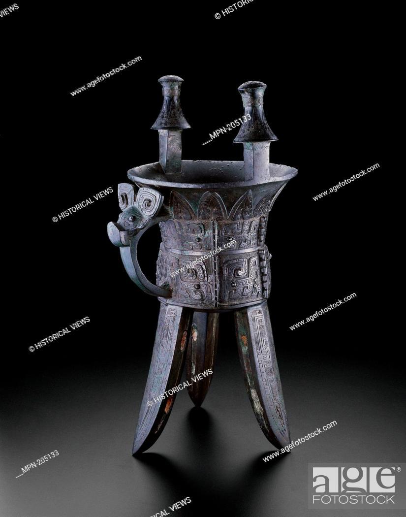 Stock Photo: Goblet (jia) - Late Shang dynasty, 13th century–1046 B.C. - China - Origin: China, Date: 1200 BC–1046 BC, Medium: Bronze, Dimensions: 51.5 × 23.
