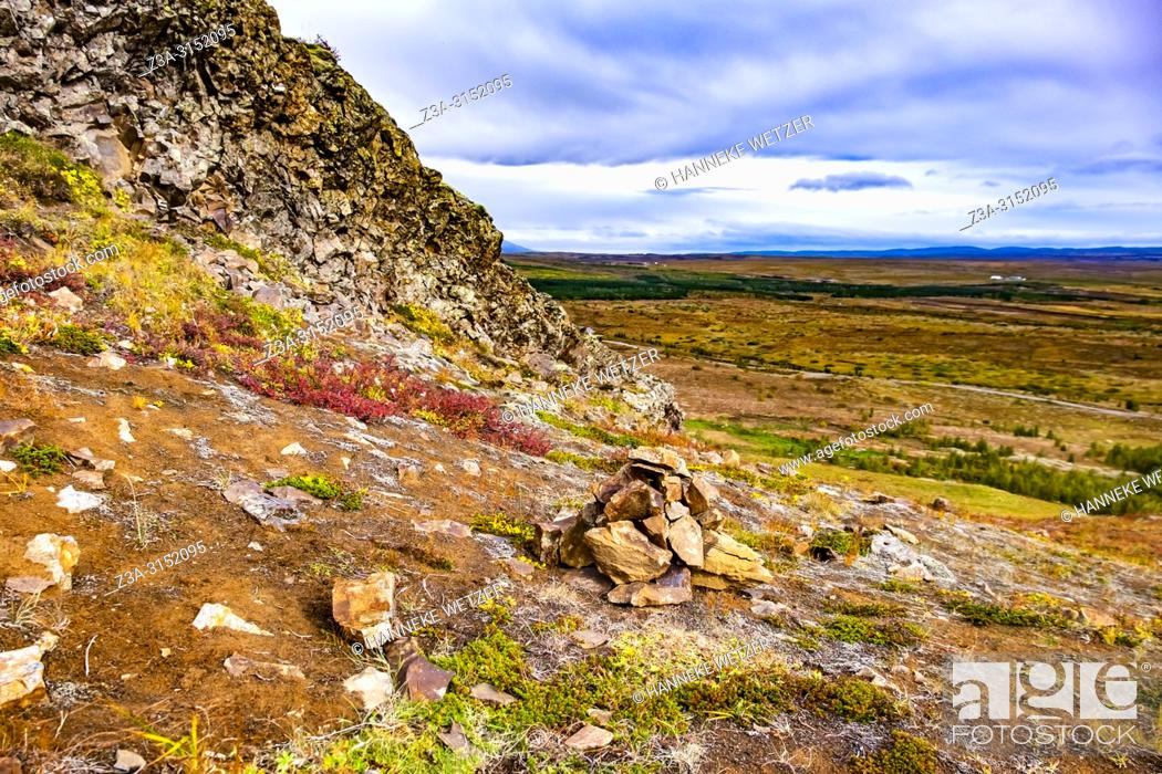 Stock Photo: Pile of rocks in Haukadalur Valley, Southwest Iceland.