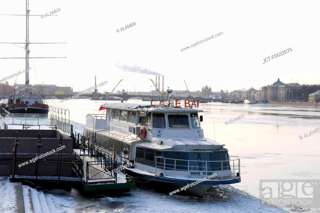 Stock Photo: Russia, St Petersburg, cafe on the Neva.