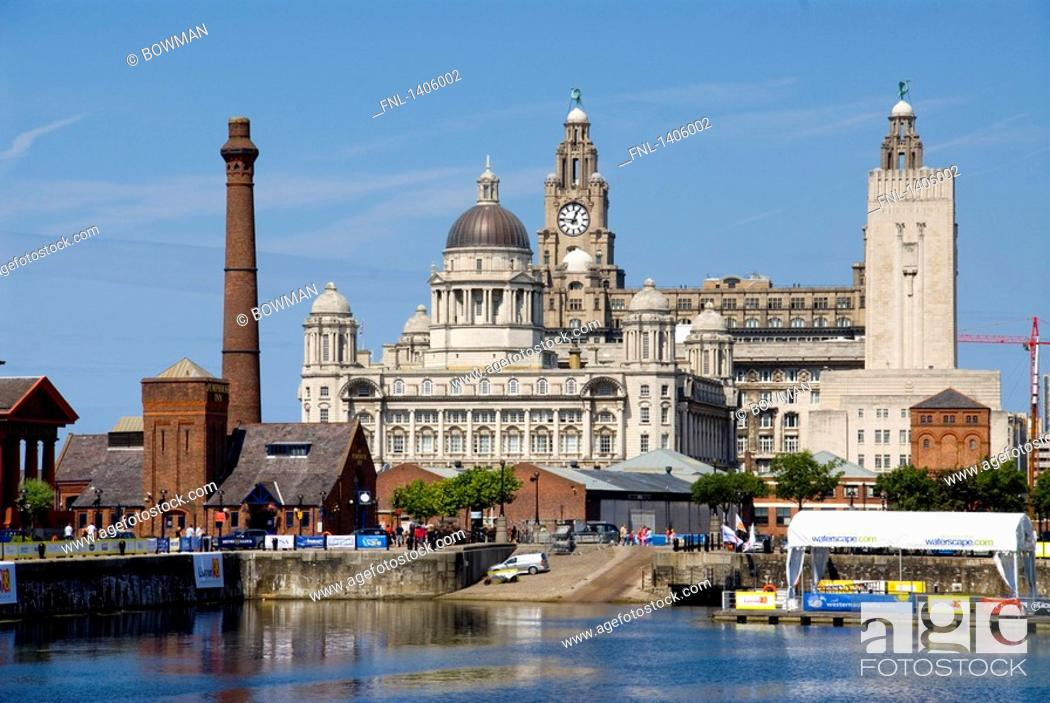 Stock Photo: Buildings at waterfront, Cunard Building, Royal Liver Building, Port Of Liverpool Building, River Mersey, Liverpool, Merseyside, North West England, England.