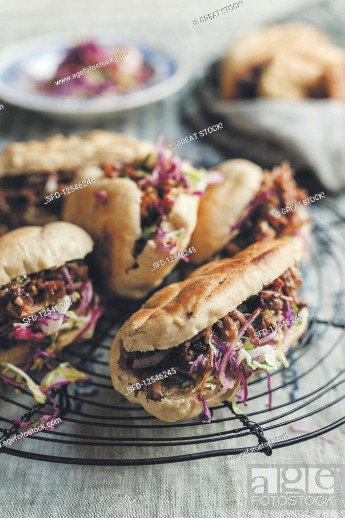 Stock Photo: Pulled beef and Coleslaw Sandwiches.
