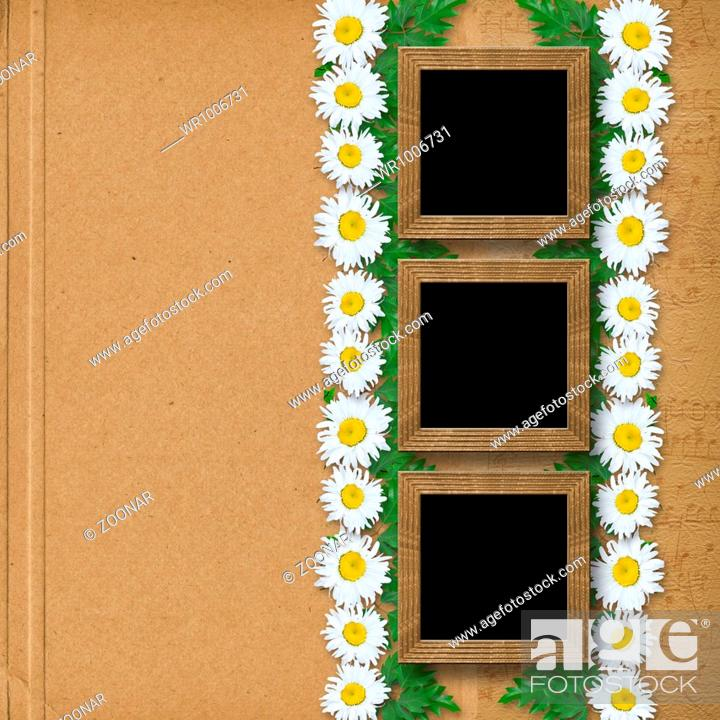 Stock Photo: Abstract paper background with garland of snow-white daisies and frames.