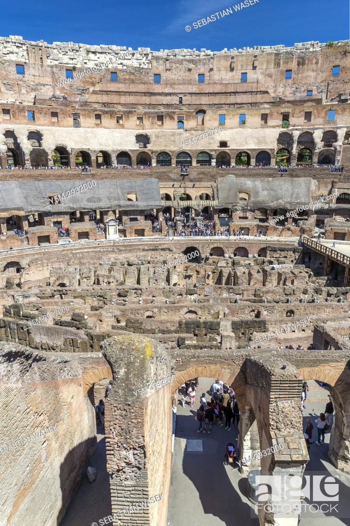 Stock Photo: Inside the Roman Colosseum, Rome, Lazio, Italy, Europe.