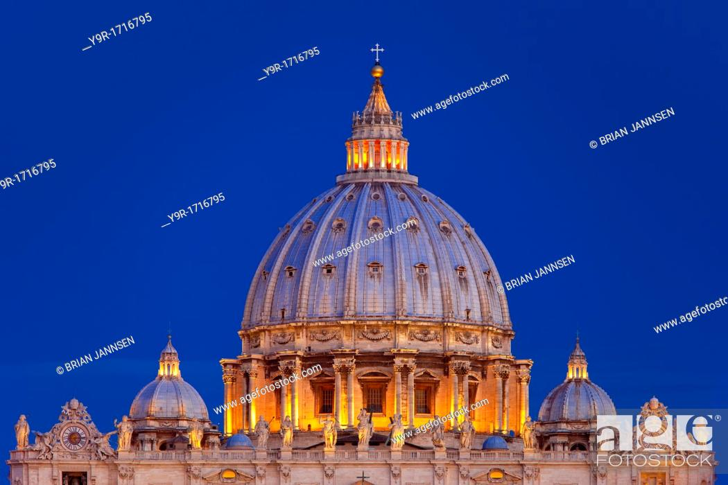 Stock Photo: Designed by Michelangelo, the beautiful dome of St  Peter's Basilica just before dawn, Rome Lazio Italy.