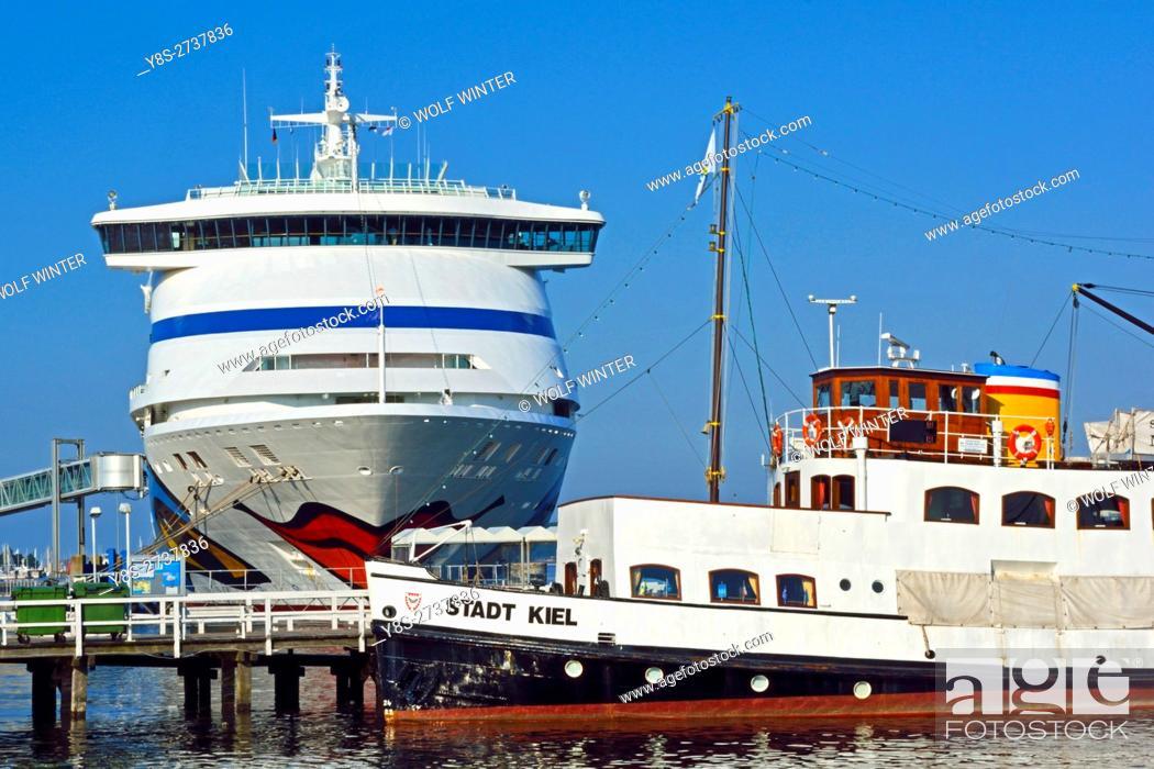 Stock Photo: Cruise Ship of Aida Cruises at Kiel port, Schleswig-Holstein, Germany.