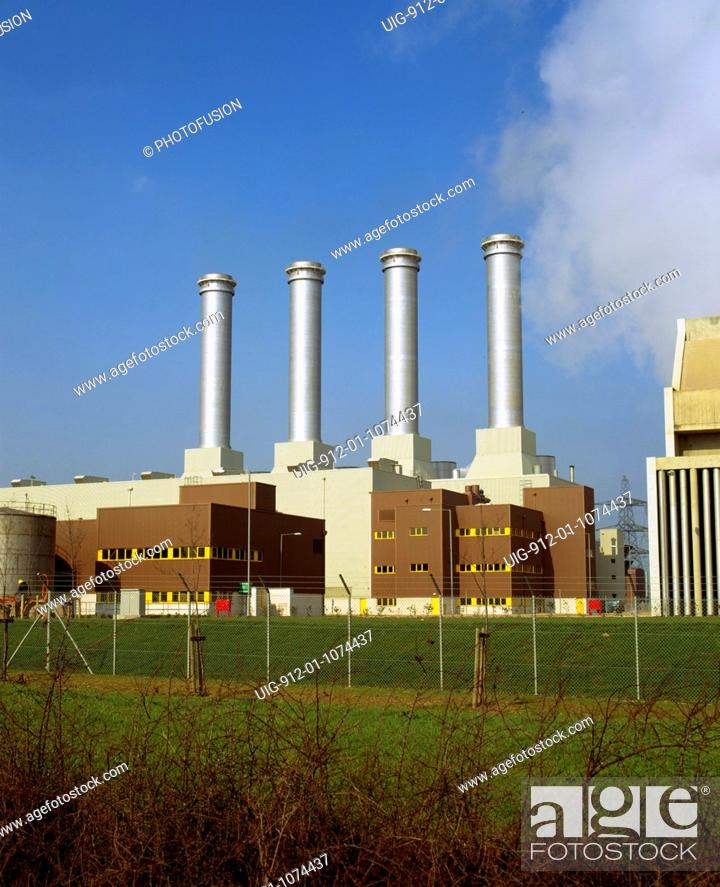Stock Photo: Combined cylcle gas-fired power station, Killingholme, Humberside, owned by Powergen.