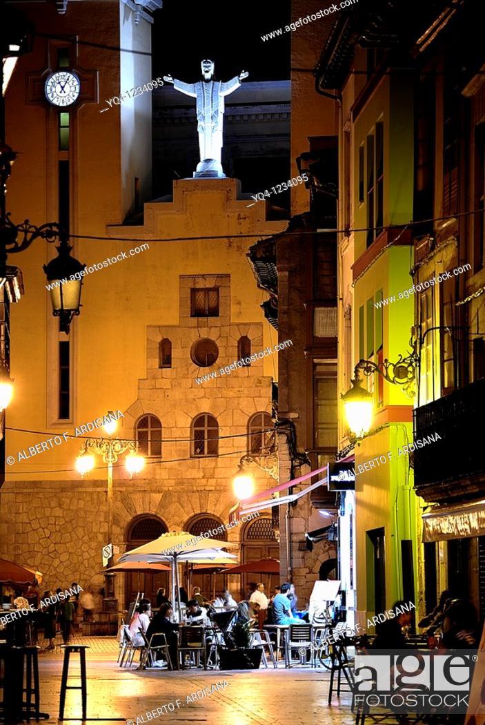 Stock Photo: Terraces to the church of Ribadesella, Asturias.