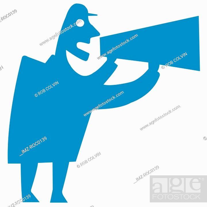 Stock Photo: Man shouting into megaphone.