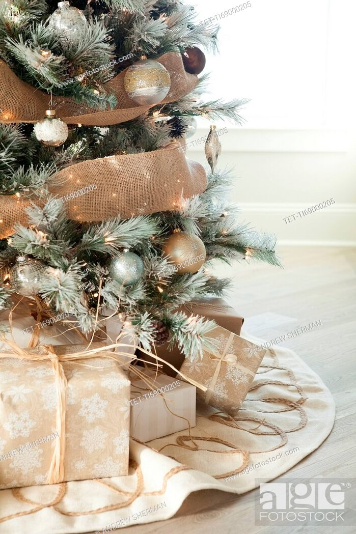 Photo de stock: Gifts under Christmas tree.