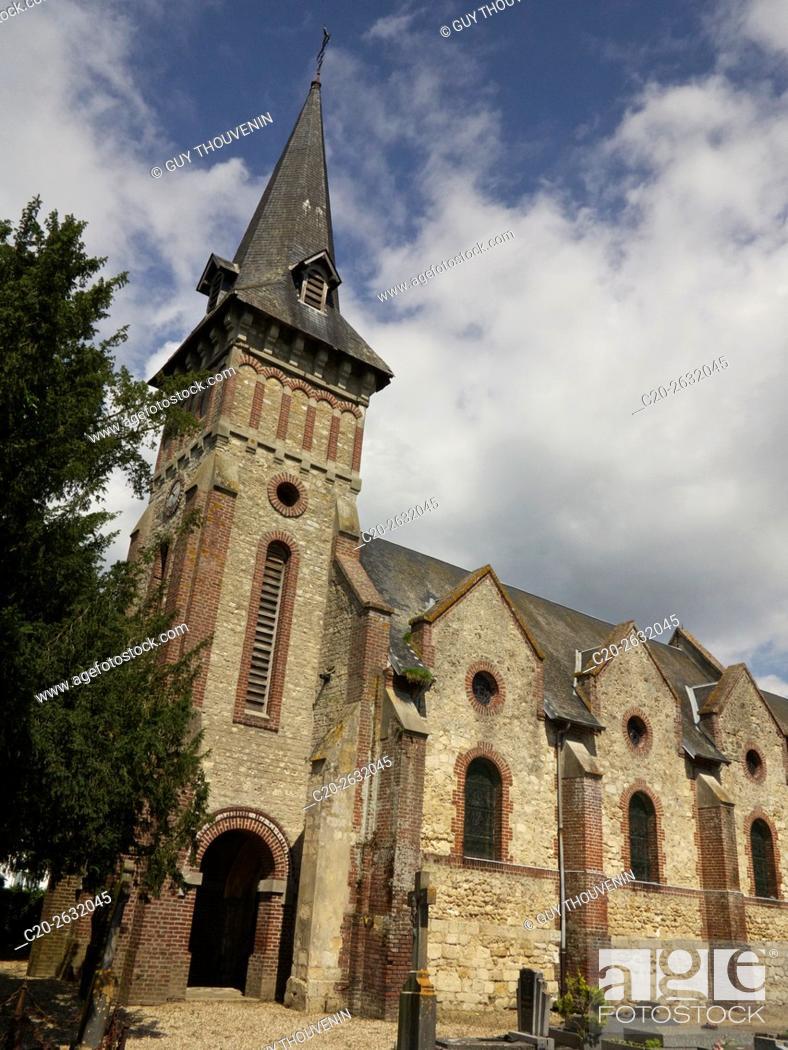 Stock Photo: Church of Canapville, 14, Calvados, Normandy, France.