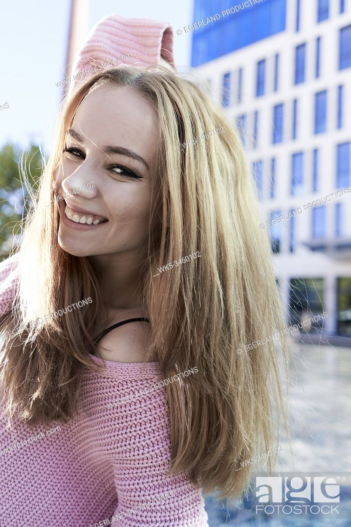 Stock Photo: Portrait of young woman. Munich, Germany.