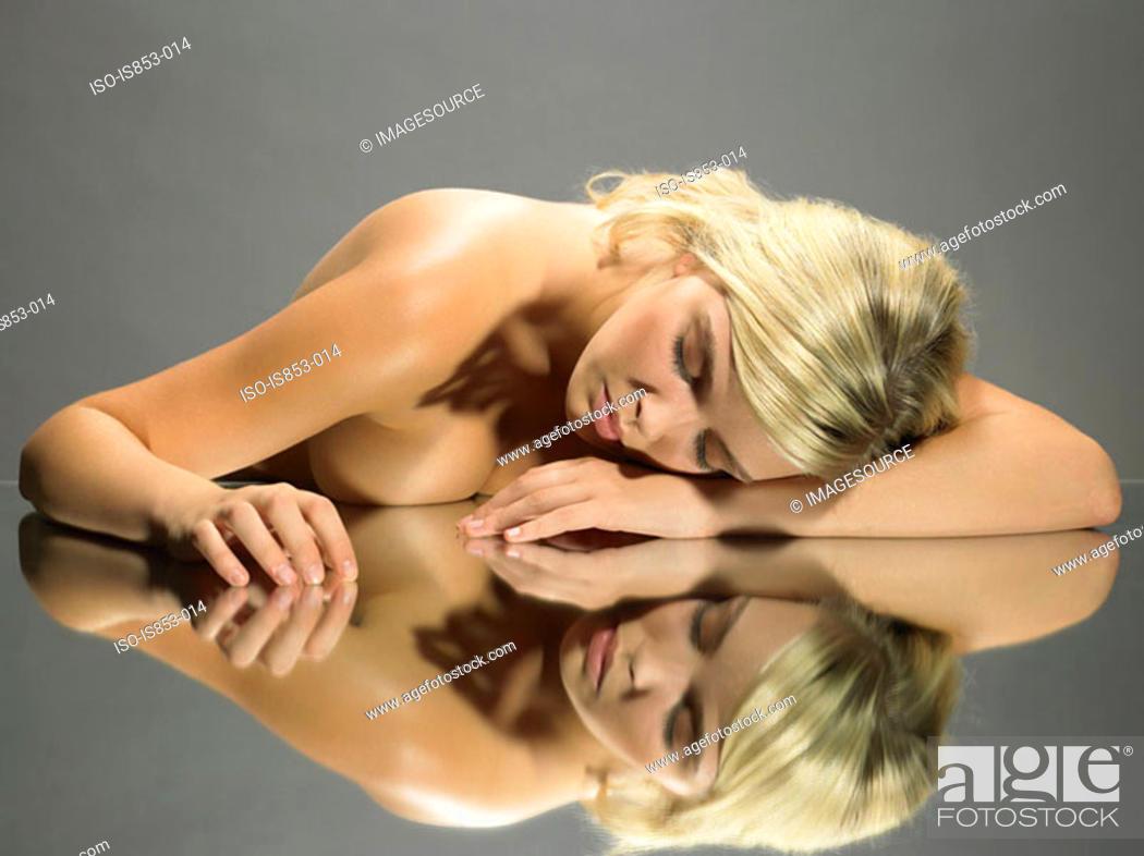 Stock Photo: Nude woman sleeping.