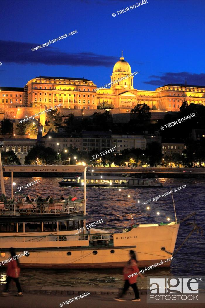 Imagen: Hungary, Budapest, Royal Palace, Danube River, Old Ship Restaurant, people, .