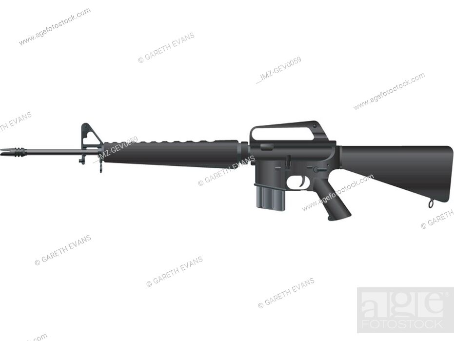 Stock Photo: A picture of a handheld M-16A1.