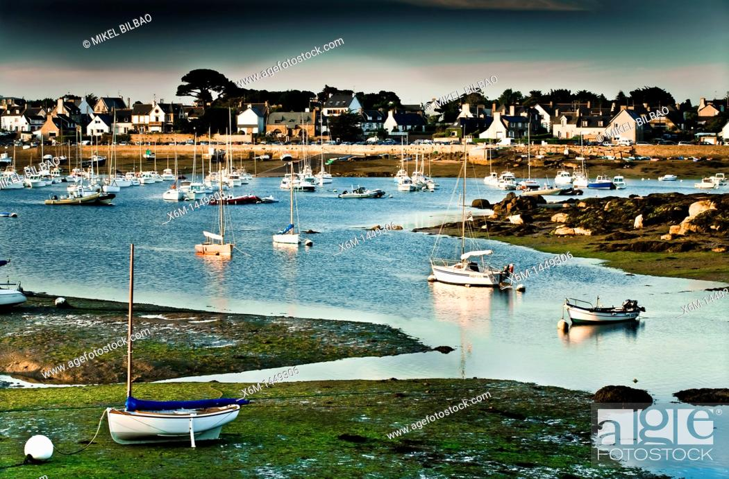 Stock Photo: Ploumanach  Perros-Guirec Breton: Perroz-Gireg is a commune in the Côtes-d'Armor department in Bretagne in northwestern France.