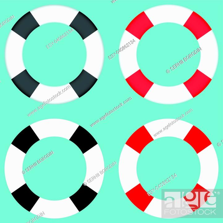 Stock Vector: Lifebuoy black and grey colour set.