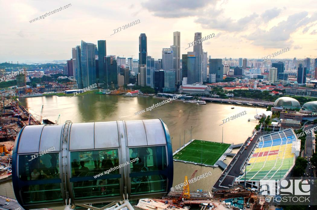 Singapore flyer, views from iniside largest Ferries wheel in the