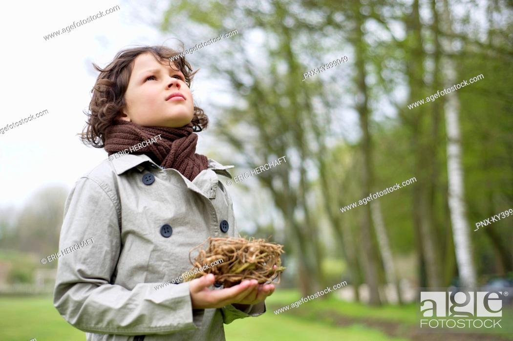 Stock Photo: Close-up of a boy holding a bird's nest in a park.